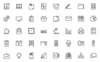 uppsättning kontor tunn linje ikoner, arbete, jobb vektor