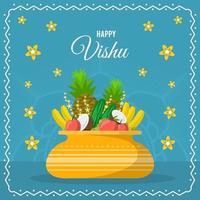 flaches Vishu-Fest mit blauem Hintergrund vektor