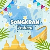 flaches Songkran-Fest vektor