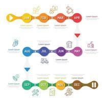 Jahresplaner, 12 Monate, 1 Jahr, Zeitachse Infografiken Designvektor und Präsentationsgeschäft können für Geschäftskonzepte mit 12 Optionen, Schritten oder Prozessen verwendet werden. vektor