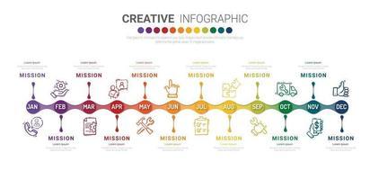 Präsentationsgeschäft Infografik Vorlage für 12 Monate, 1 Jahr, kann für Geschäftskonzept mit 12 Optionen, Schritten oder Prozessen verwendet werden. vektor