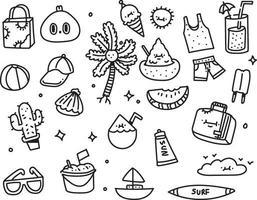 sommar design doodle stil set vektor
