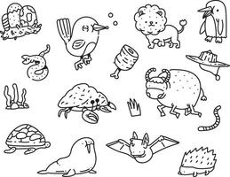 uppsättning doodle djur ikoner vektor