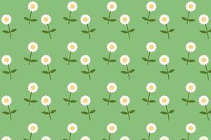 Gänseblümchen blühendes Muster flacher Stilhintergrundvektor. Blumentextil mit grünem Hintergrund vektor