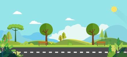öffentlicher Park mit Bank und Naturhintergrund. Schöne Naturszene. Frühlingslandschaft mit ländlicher Straße. Sonniger Tag mit grünem Garten vektor