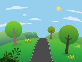 Straße auf Hügeln mit großen Bergen und Himmel. Schöne Szene Wiesen mit Bergen im Sommer. Naturlandschaft mit ländlicher Straße. Vektorillustration vektor