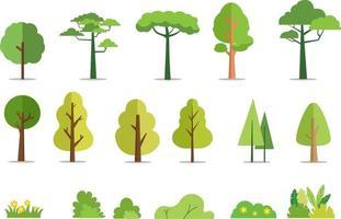 Bäume und Büsche setzen flache Artvektorillustration. Karikaturwaldbaum. Pflanze und Blumen. Baum isolierter Hintergrund vektor