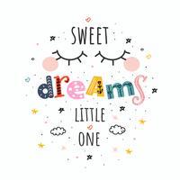 söta drömmar lilla en vektor