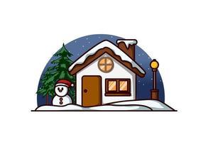 ein Haus mit einem Schneemann und einer Tanne am Heiligabend vektor