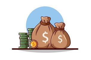 mynt och pengarsäckar