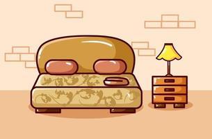 lyxig säng illustration hand ritning vektor