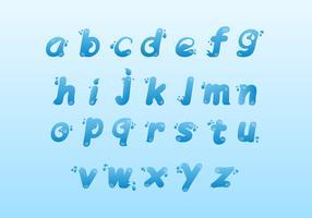 Vatten alfabet ikonuppsättning
