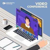 Team macht Online-Videokonferenz vektor