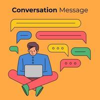 Leute, die ein Gespräch mit Chatbox-Blasen führen vektor