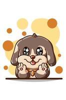 söt brun hund illustration vektor
