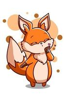 hübscher Fuchs will eine Kussillustration geben vektor
