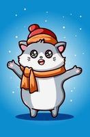 niedliche Katze, die Hut- und Schalillustration trägt vektor