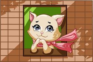 eine schöne Katze, die rosa Schal in der Fensterillustration trägt vektor