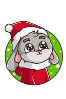 en grå kanin som bär en juldräkt vektor