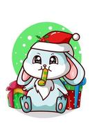 ein blaues Kaninchen, das eine Trompete und einige Weihnachtsgeschenke bläst vektor