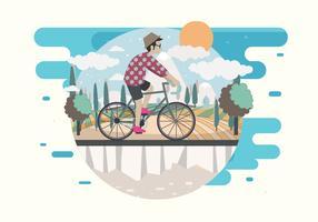 Mann, der einen Fahrrad-Vektor reitet