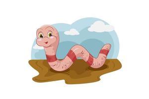 ein niedlicher rosa Wurm auf dem Schlamm mit Himmel und bewölktem Hintergrund, Design-Tierkarikaturvektorillustration vektor