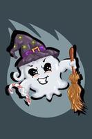 niedlicher weißer Geist, der Zaubererhut trägt, bringen Süßigkeiten und magischen Besen
