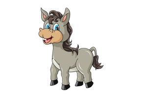ein niedlicher kleiner Esel mit lachenden blauen Augen, Entwurfskarikaturvektorillustration vektor