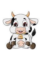 en lycklig söt liten ko sittande, design djur tecknad vektorillustration vektor