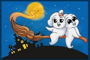 två små spöken skämtar glatt på en magisk kvast på halloween natt vektor