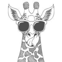 Giraffe, die Brillenhand gezeichnete Vektorillustration trägt vektor
