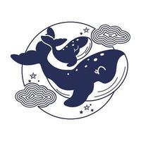 mors dagskort med valar. söta djur mamma och baby. vektor