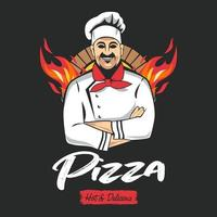 pizza, snabbmatslogotyp eller etikett vektor