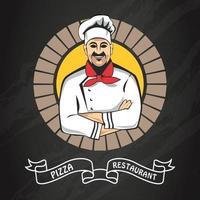 Pizza, Fast-Food-Logo oder Etikett vektor