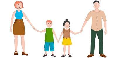 vänlig familj i tecknad stil.