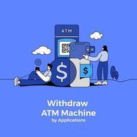Geld von Geldautomaten abheben vektor