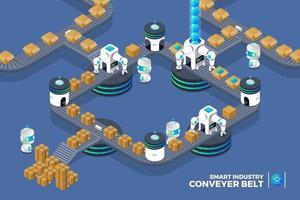 Fabrikförderband mit Automatisierung für intelligente Verpackung. Roboterwaffenproduktion auf Transporterlinie. isometrischer Vektor