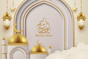 3d ramadan kareem hintergrund mit goldenen lampenlaternen. vektor