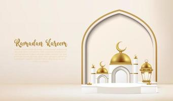 Ramadan kareem 3d med podiet. vektor