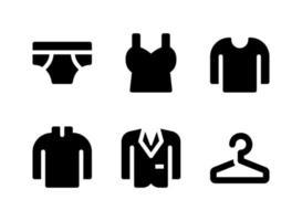 einfache Gruppe von Kleidung verwandte Vektor feste Symbole