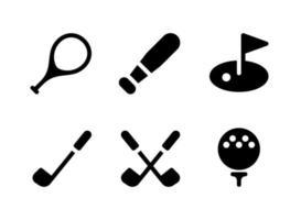enkel uppsättning sportrelaterade vektor solida ikoner