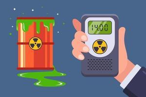 läckage av kärnavfall. mätning med en dosimeter för strålning. platt vektorillustration.