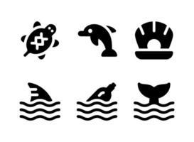 einfacher Satz von maritimen verwandten Vektorfesten Ikonen vektor