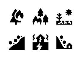 enkel uppsättning katastrofrelaterade fasta ikoner vektor