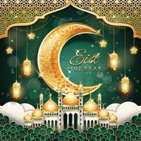eid mubarak med halvmåne och moské vektor