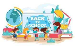 Kinder, die mit Sicherheitsprotokoll wieder zur Schule gehen vektor