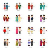 manliga och kvinnliga paravatarer som bär traditionella kläder runt om i världen vektor