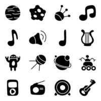 musik-, rymd- och teknikrelaterad barnprojektvektor vektor