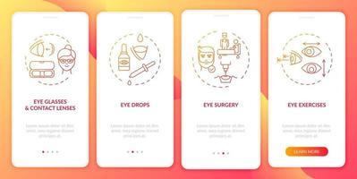 Behandlungsmethoden für Augenkrankheiten Onboarding des Bildschirms der mobilen App-Seite mit Konzepten