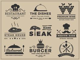 Logo insignia design för restaurang, biffhus, vin, hamburgare, vektor